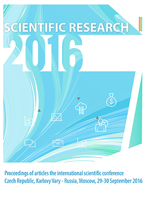 konferenční materiály: SCIENTIFIC RESEARCH – 2016: Proceedings of articles the international scientific conference